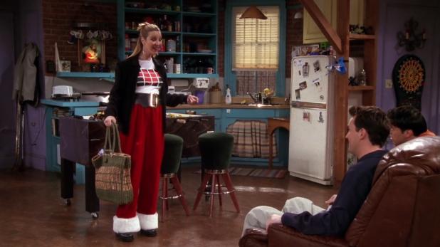Pantalones de Papá Noel de Phoebe Los mejores atuendos de Friends